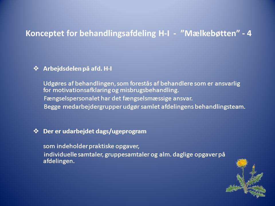 Konceptet for behandlingsafdeling H-I - Mælkebøtten - 4