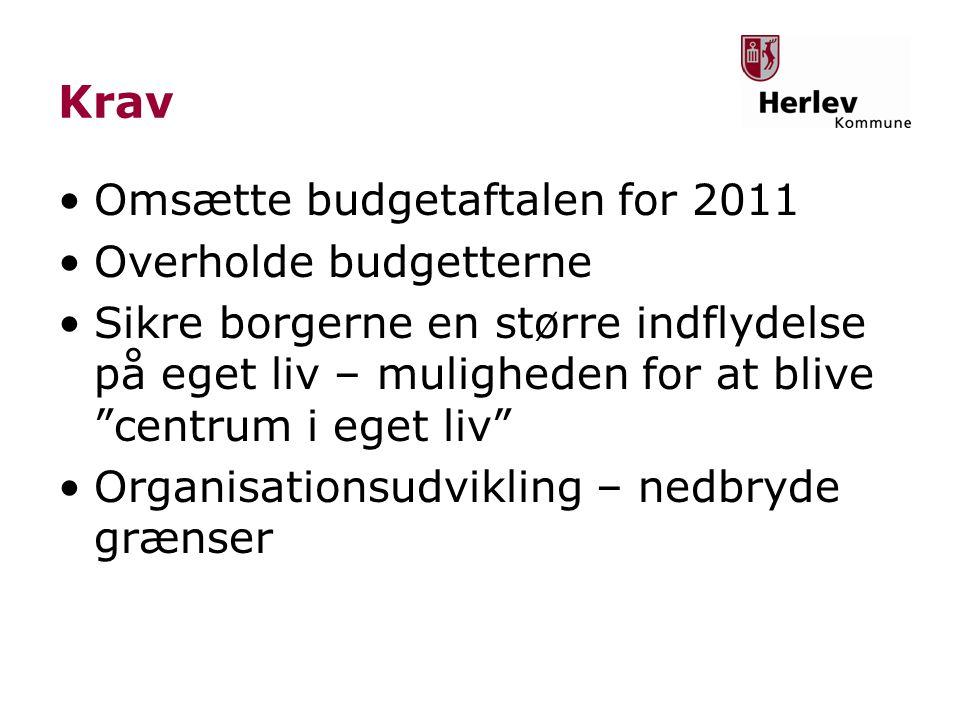 Krav Omsætte budgetaftalen for 2011 Overholde budgetterne