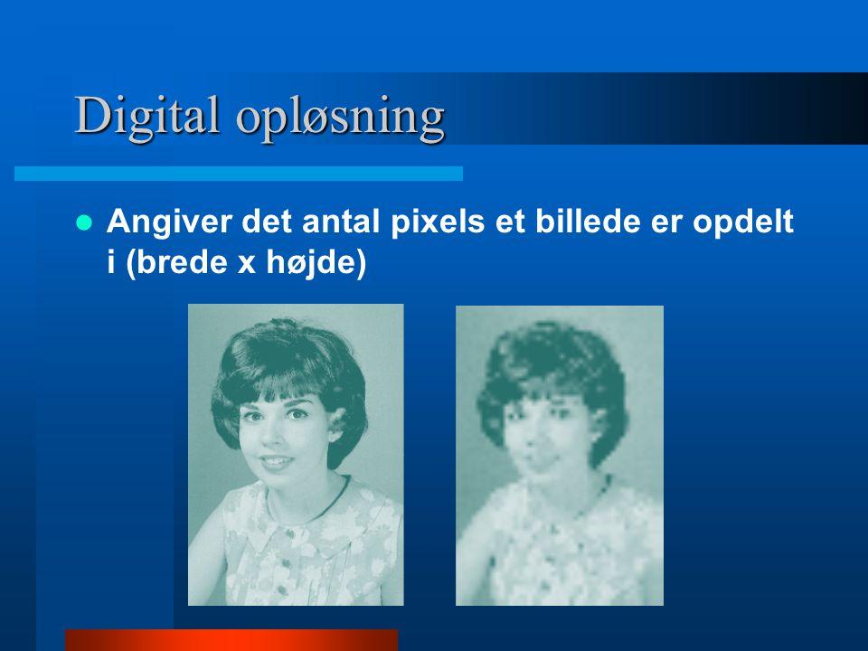 Digital opløsning Angiver det antal pixels et billede er opdelt i (brede x højde)