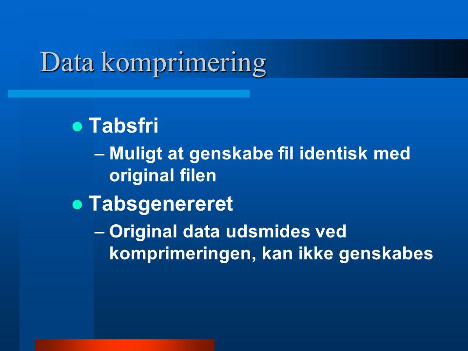 Data komprimering Tabsfri Tabsgenereret