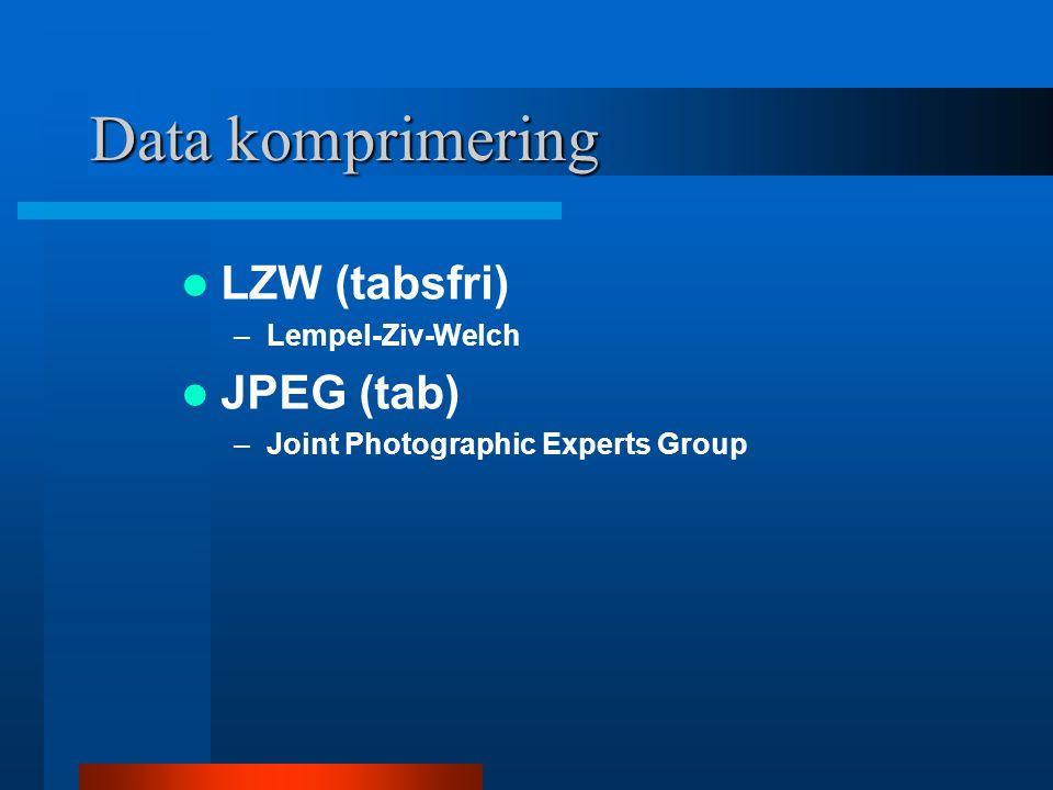Data komprimering LZW (tabsfri) JPEG (tab) Lempel-Ziv-Welch