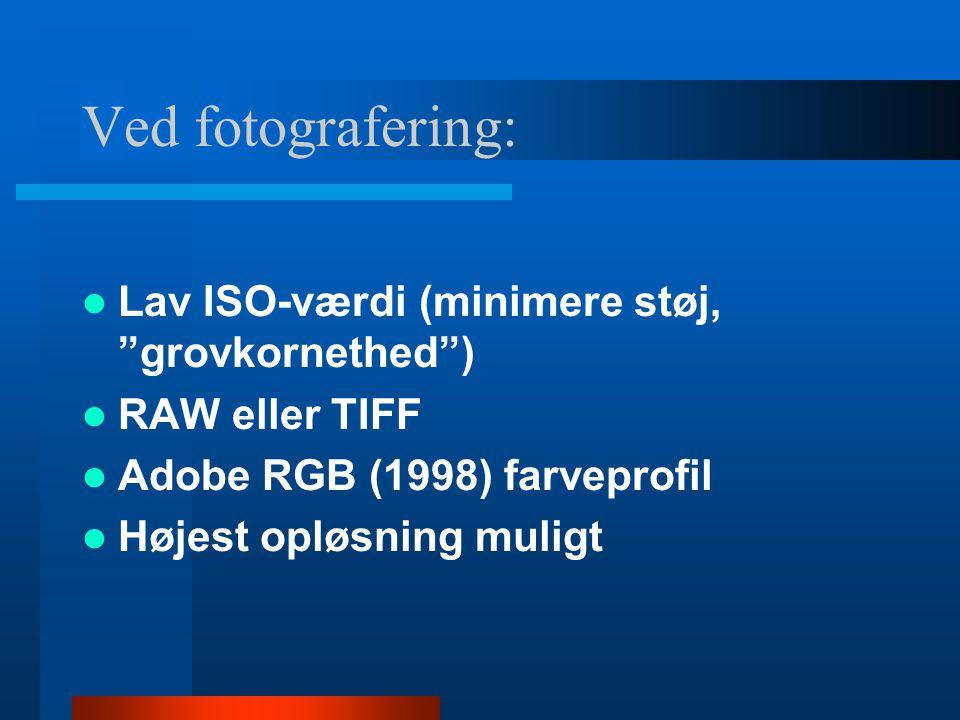 Ved fotografering: Lav ISO-værdi (minimere støj, grovkornethed )