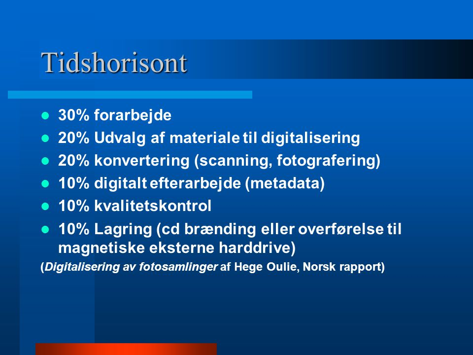 Tidshorisont 30% forarbejde 20% Udvalg af materiale til digitalisering