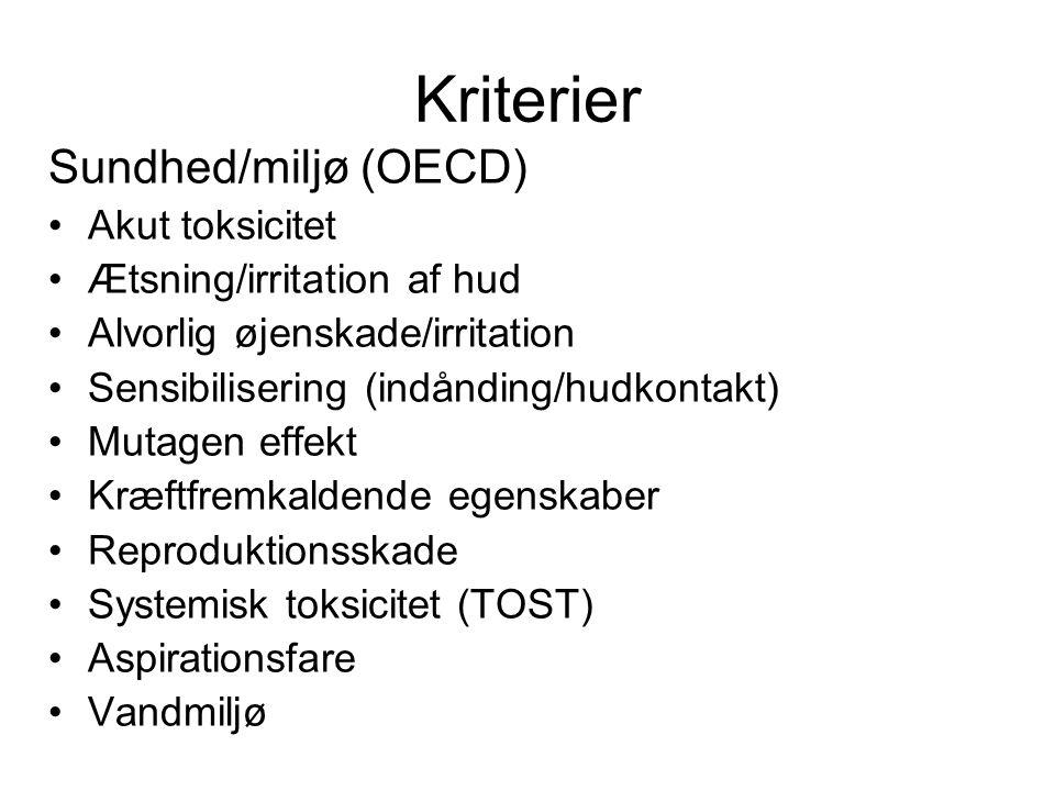 Kriterier Sundhed/miljø (OECD) Akut toksicitet