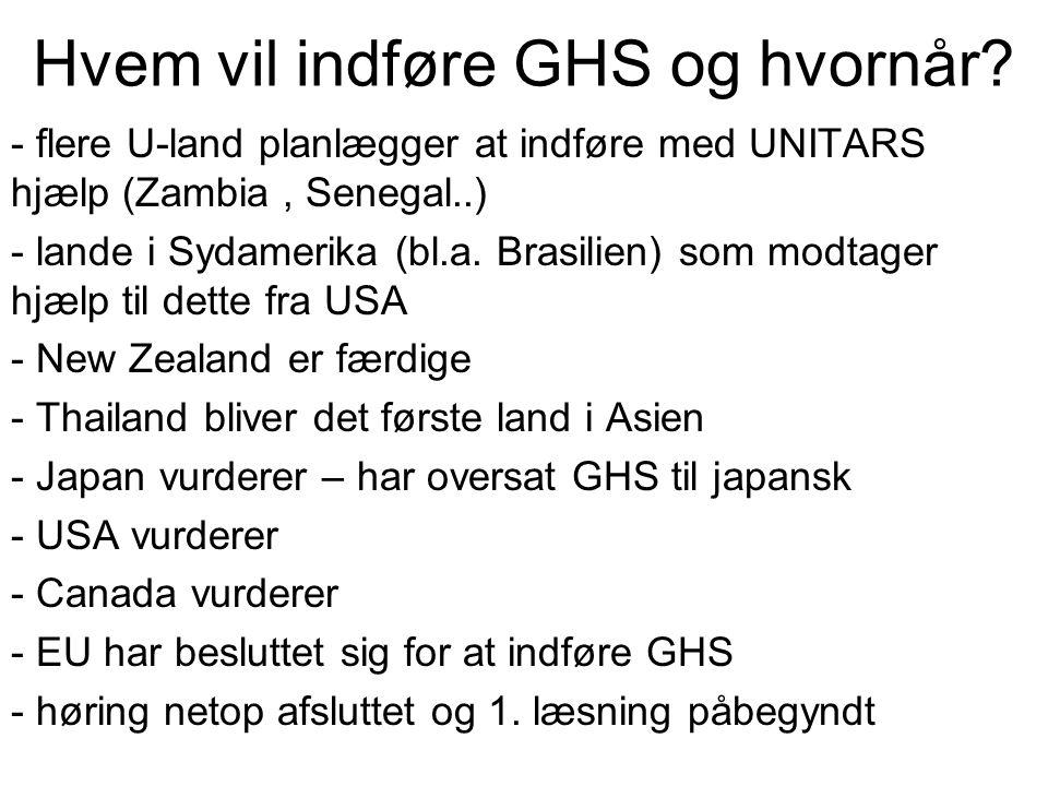 Hvem vil indføre GHS og hvornår