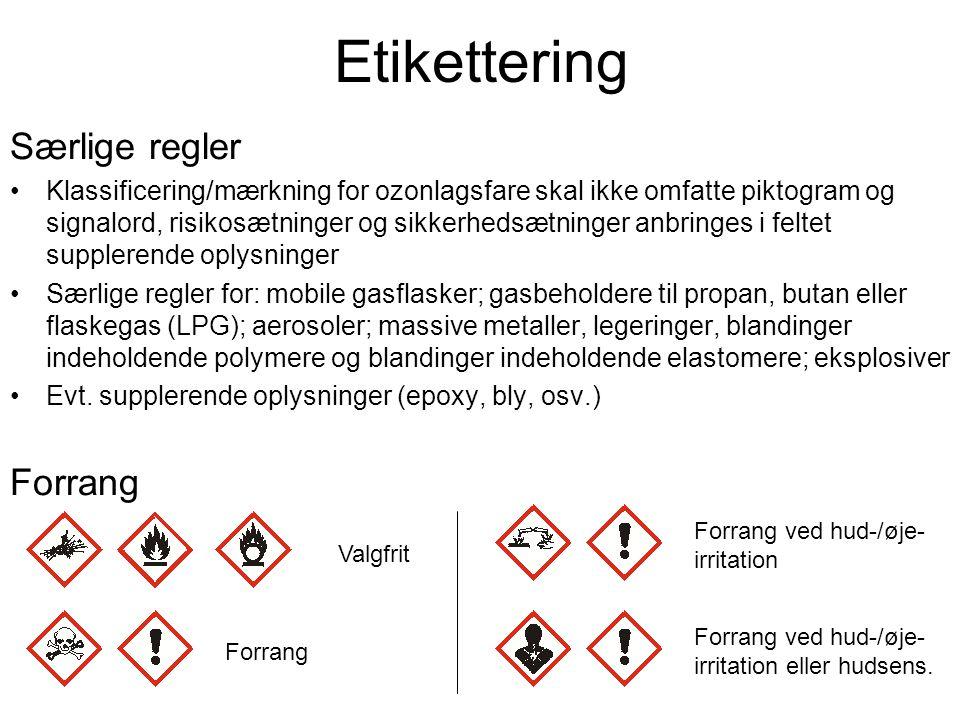 Etikettering Særlige regler Forrang