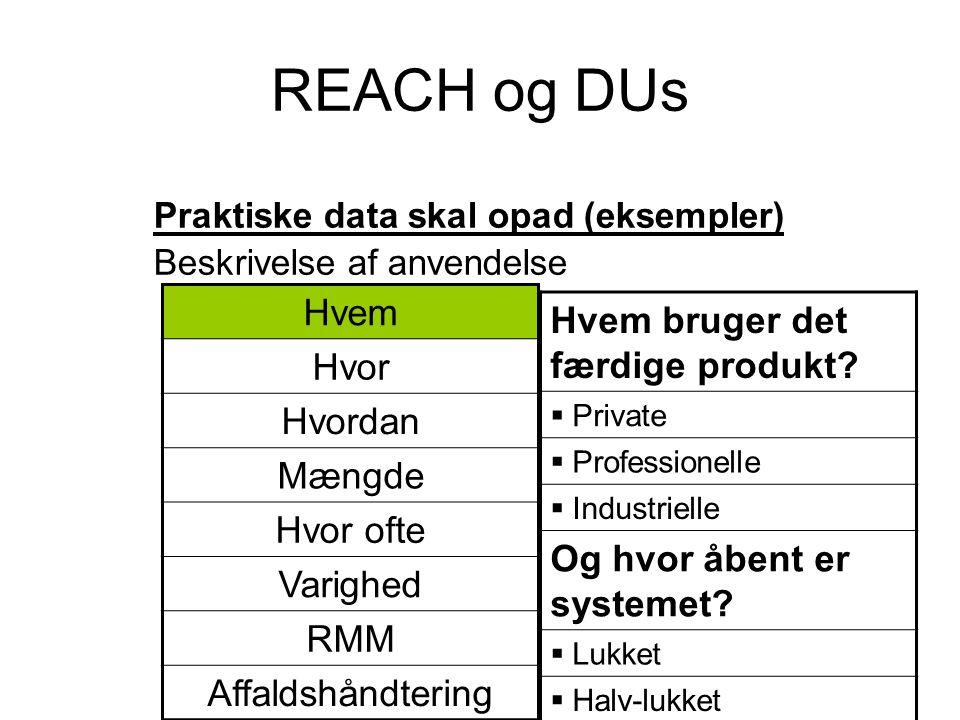 REACH og DUs Hvem Hvem bruger det færdige produkt Hvor Hvordan Mængde