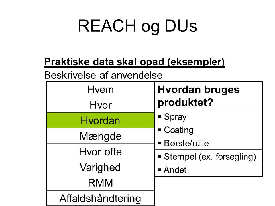 REACH og DUs Hvem Hvor Hvordan Mængde Hvor ofte Varighed RMM