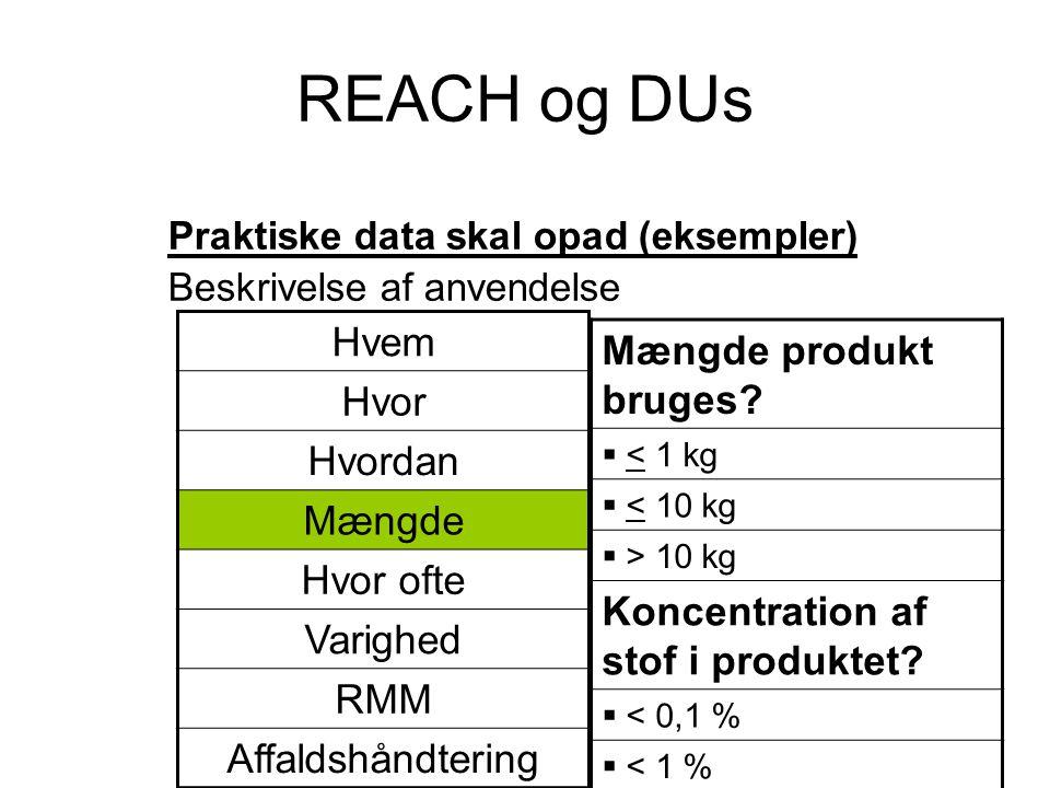 REACH og DUs Hvem Mængde produkt bruges Hvor Hvordan Mængde Hvor ofte