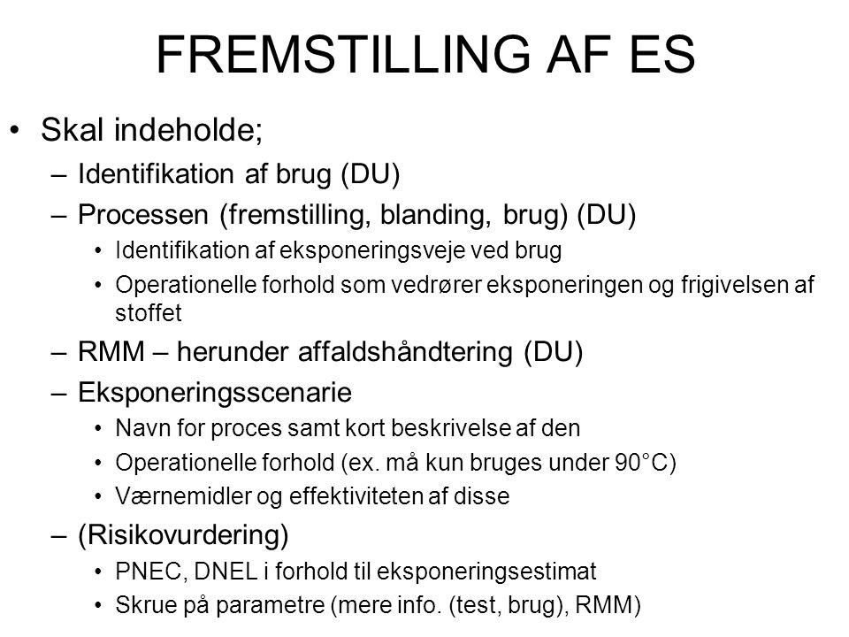 FREMSTILLING AF ES Skal indeholde; Identifikation af brug (DU)