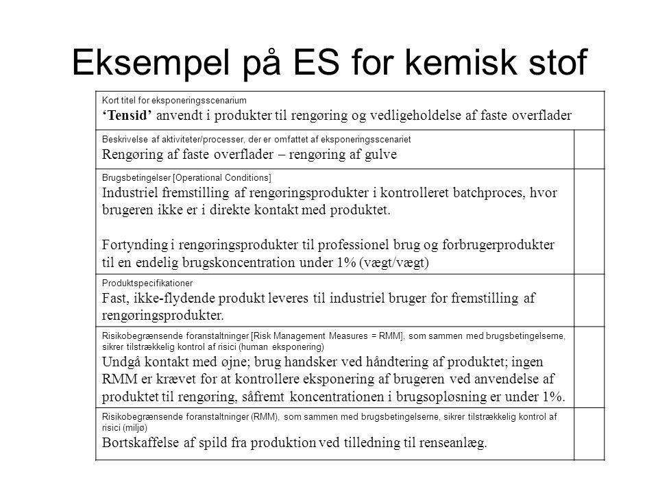 Eksempel på ES for kemisk stof