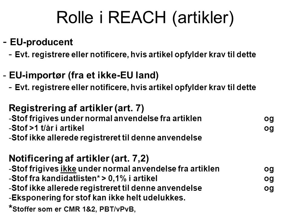 Rolle i REACH (artikler)