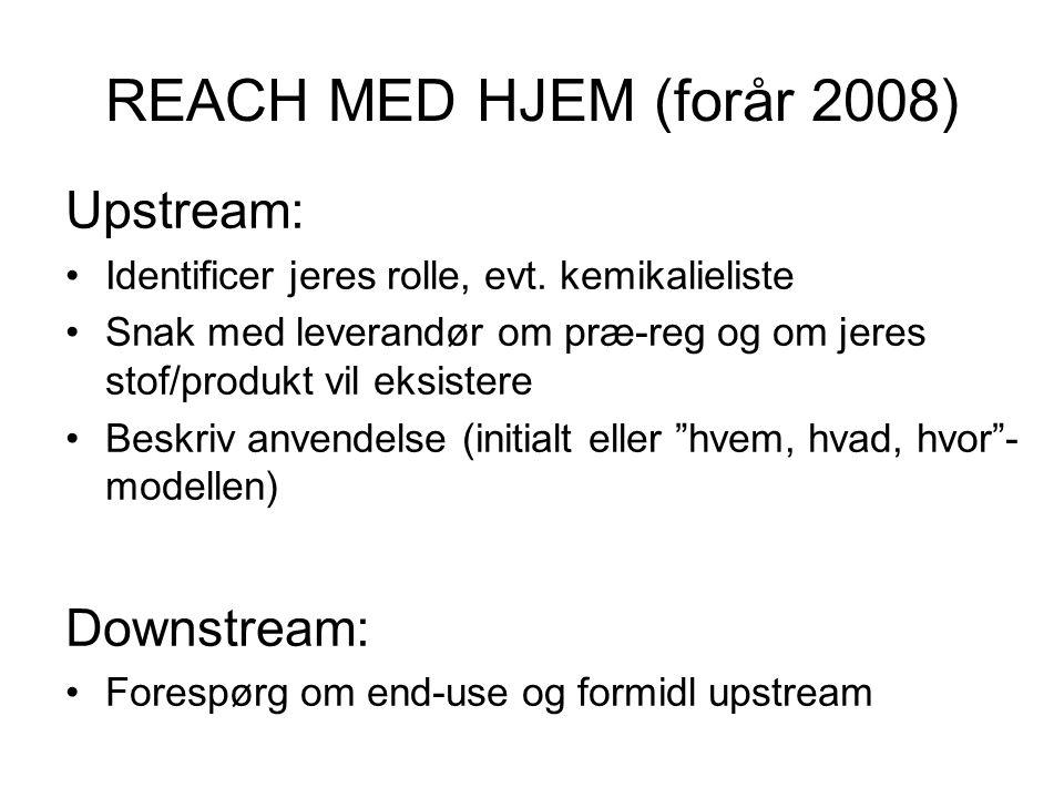 REACH MED HJEM (forår 2008) Upstream: Downstream: