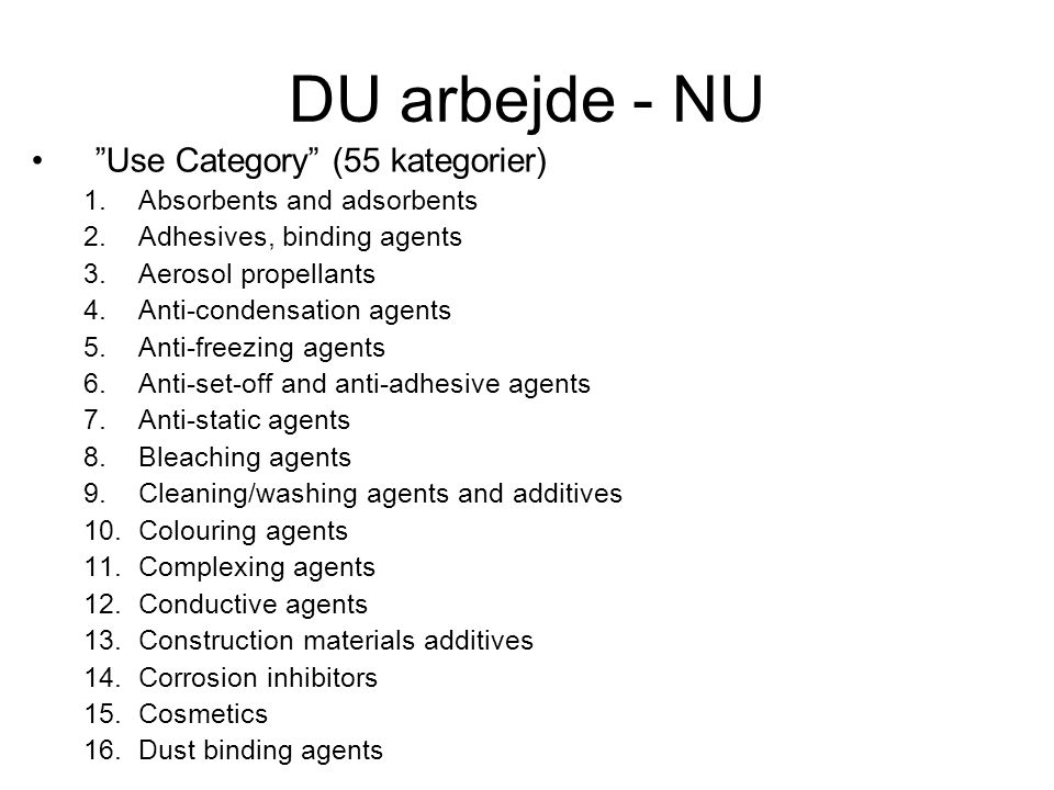 DU arbejde - NU Use Category (55 kategorier)