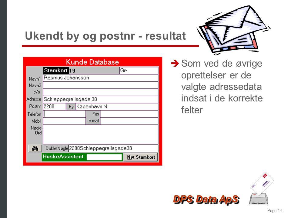 Ukendt by og postnr - resultat