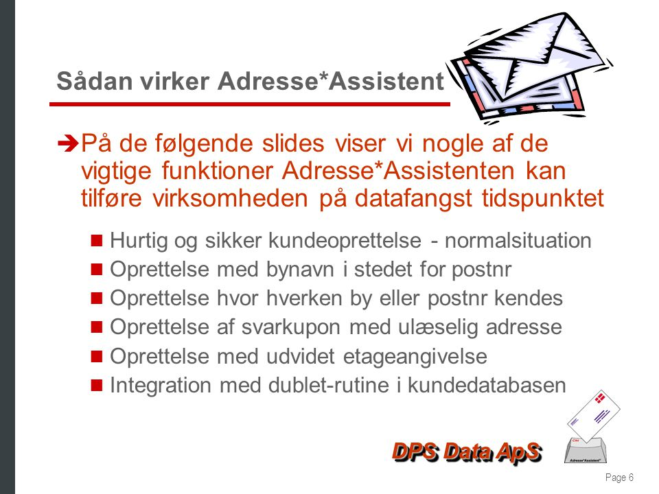 Sådan virker Adresse*Assistent
