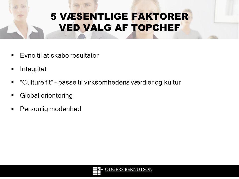 5 VÆSENTLIGE FAKTORER VED VALG AF TOPCHEF