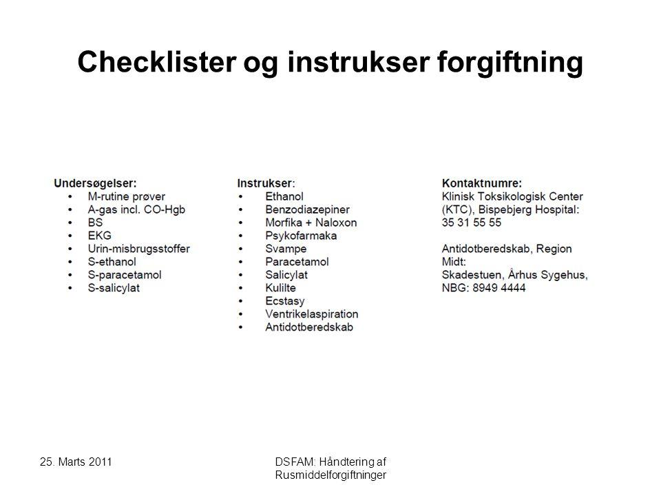 Checklister og instrukser forgiftning