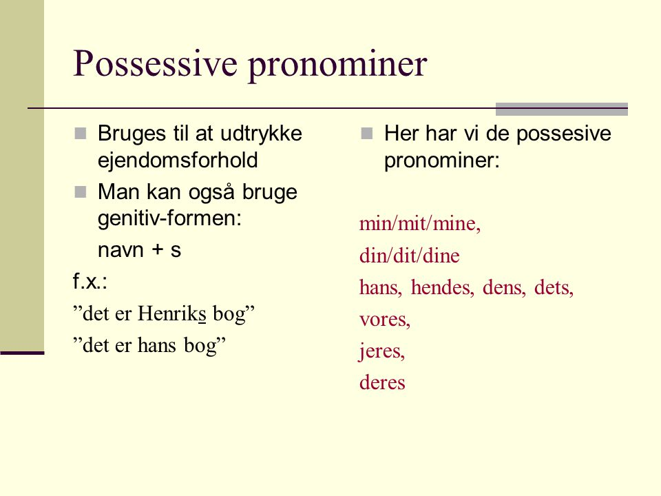 Possessive pronominer