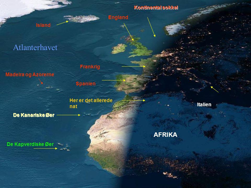 Atlanterhavet AFRIKA Kontinental sokkel England Island Frankrig