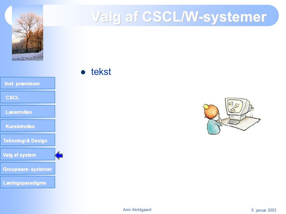 Valg af CSCL/W-systemer