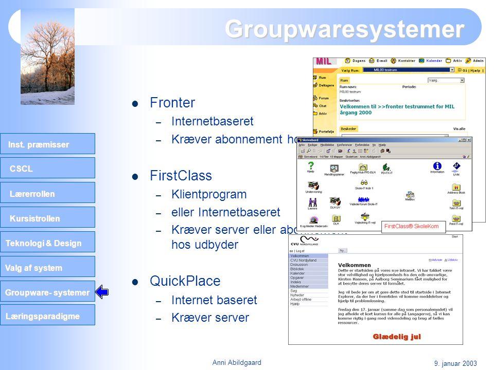 Groupwaresystemer Fronter FirstClass QuickPlace Internetbaseret