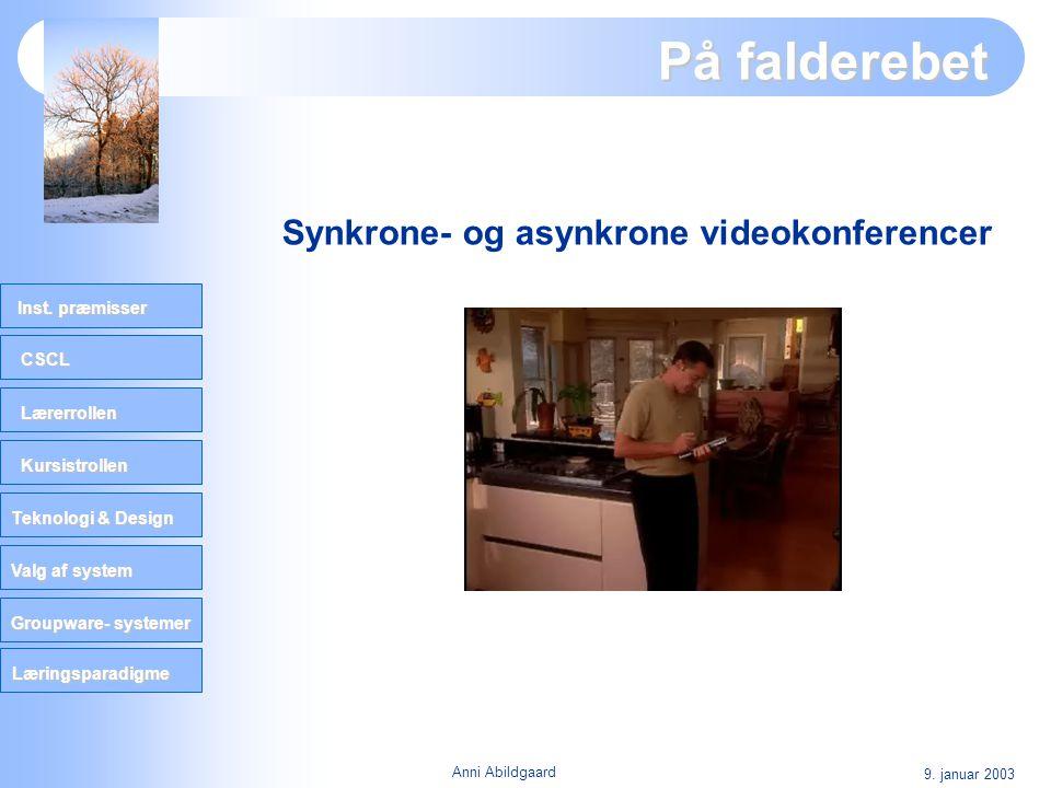 På falderebet Synkrone- og asynkrone videokonferencer 9. januar 2003