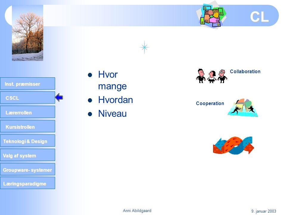 CL Hvor mange Hvordan Niveau Collaboration Cooperation 9. januar 2003
