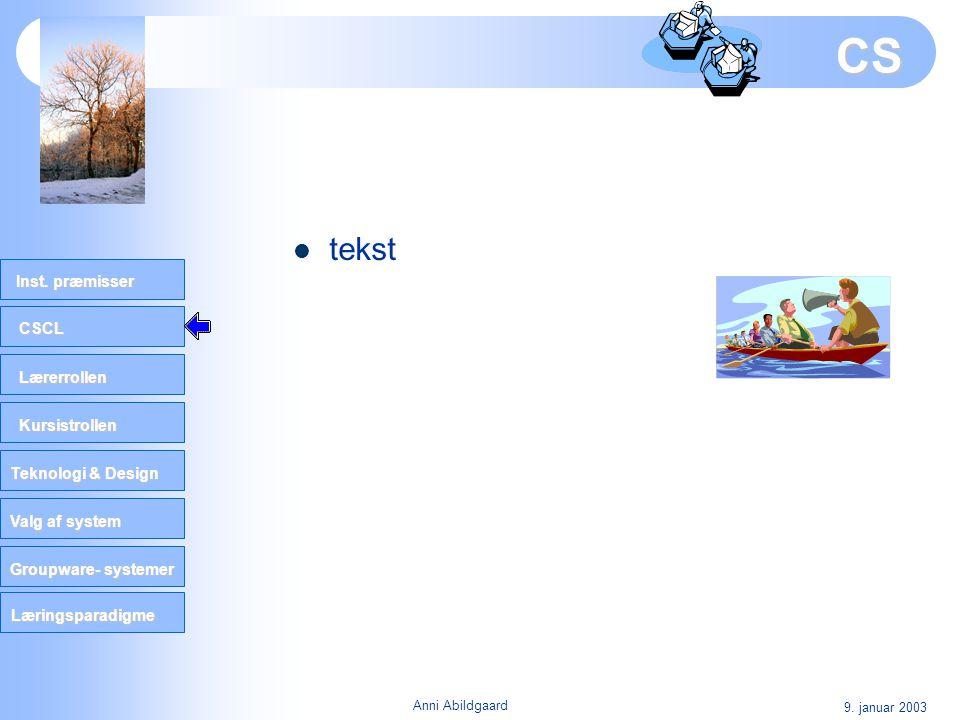 CS tekst 9. januar 2003 Anni Abildgaard