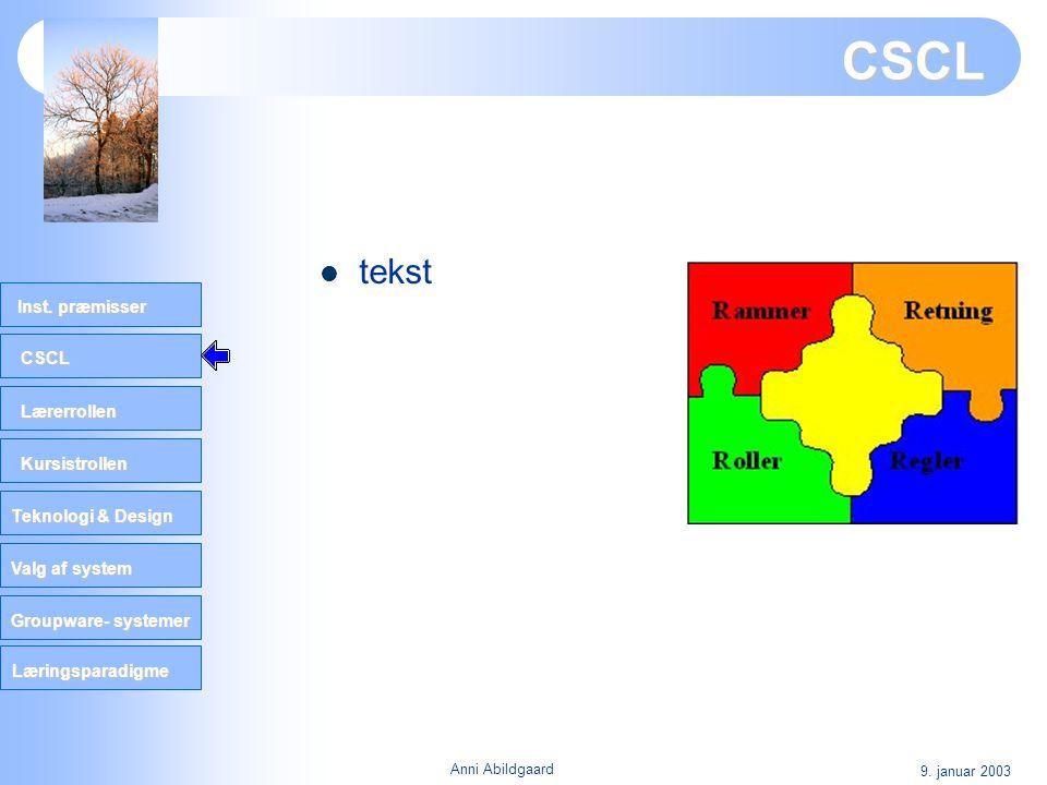 CSCL tekst 9. januar 2003 Anni Abildgaard