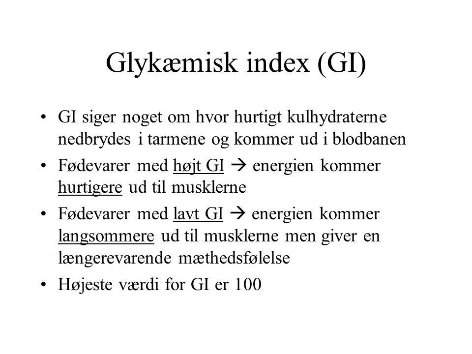 Glykæmisk index (GI) GI siger noget om hvor hurtigt kulhydraterne nedbrydes i tarmene og kommer ud i blodbanen.