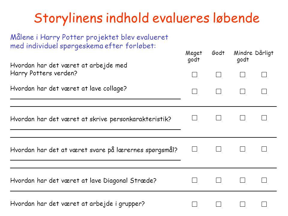 Storylinens indhold evalueres løbende