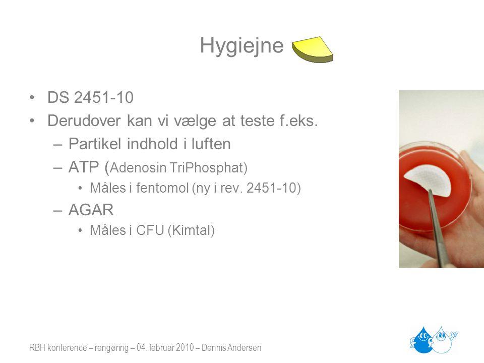 Hygiejne DS 2451-10 Derudover kan vi vælge at teste f.eks.