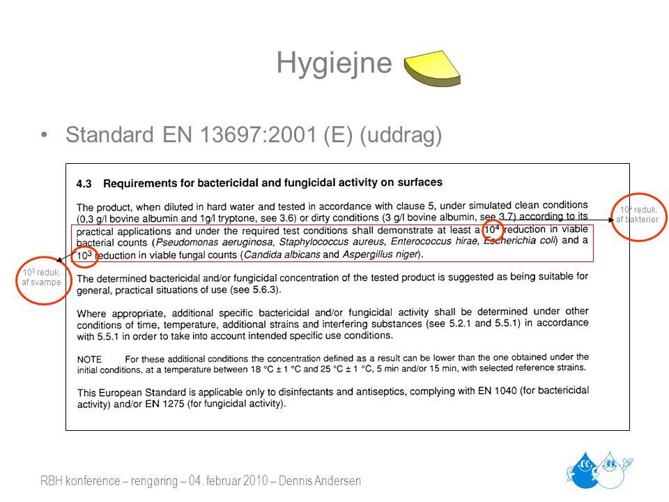 Hygiejne Standard EN 13697:2001 (E) (uddrag)