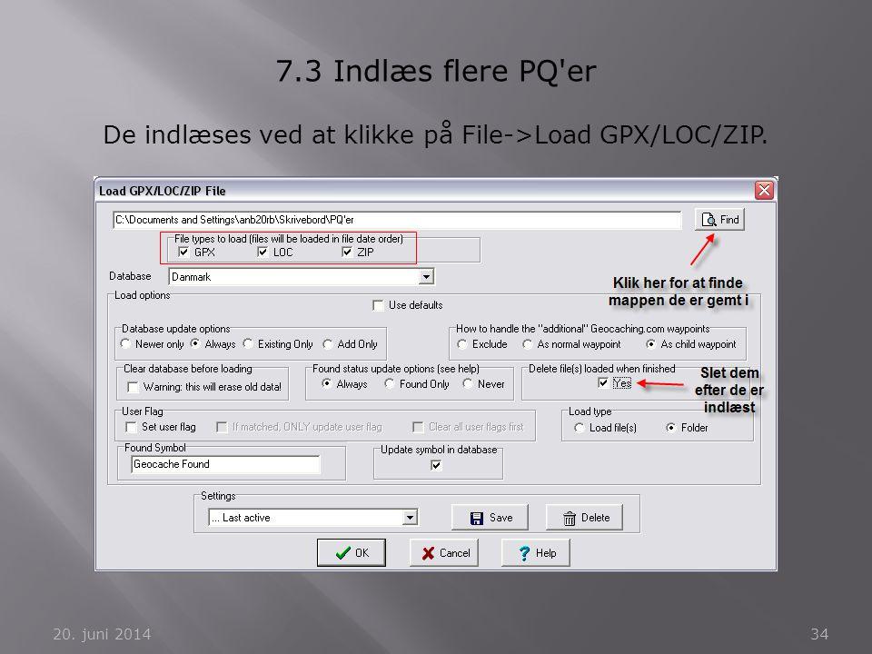 De indlæses ved at klikke på File->Load GPX/LOC/ZIP.