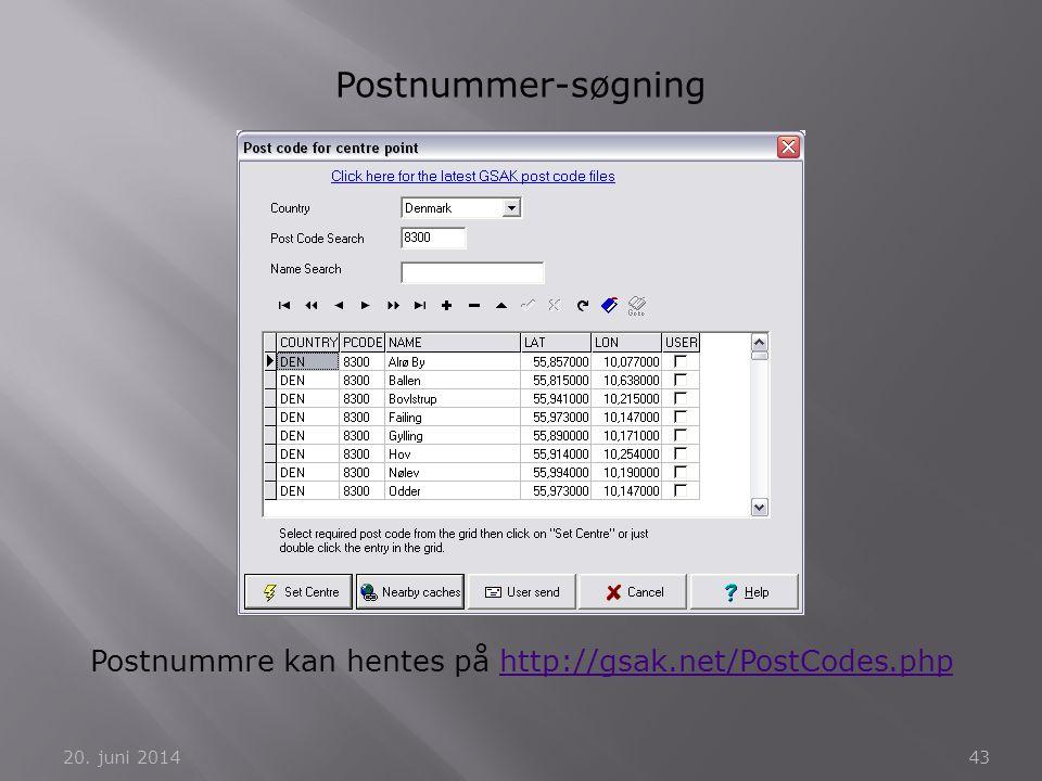 Postnummre kan hentes på http://gsak.net/PostCodes.php