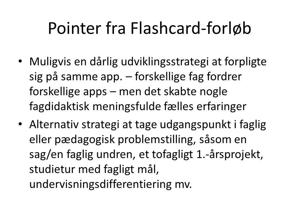 Pointer fra Flashcard-forløb