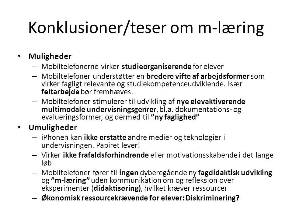 Konklusioner/teser om m-læring