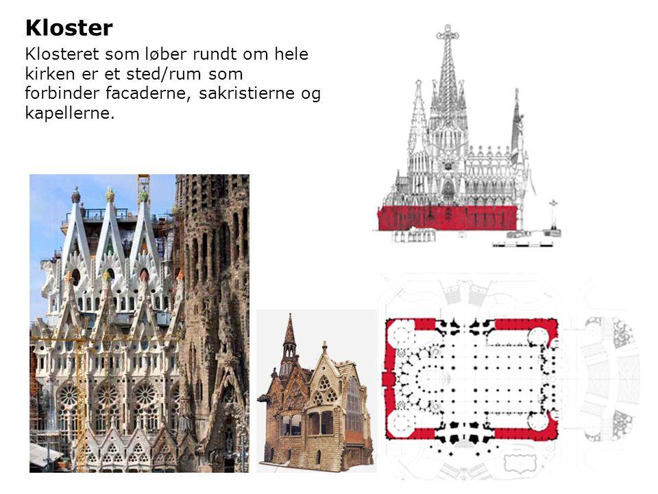 Kloster Klosteret som løber rundt om hele kirken er et sted/rum som forbinder facaderne, sakristierne og kapellerne.