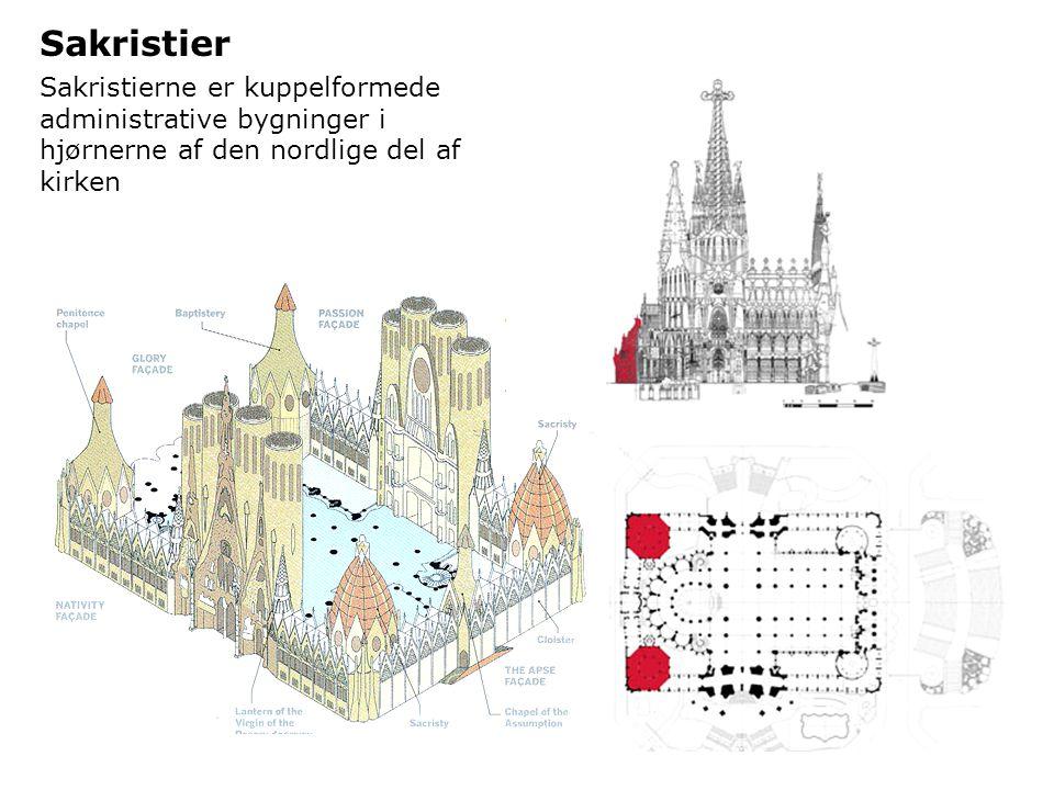 Sakristier Sakristierne er kuppelformede administrative bygninger i hjørnerne af den nordlige del af kirken.