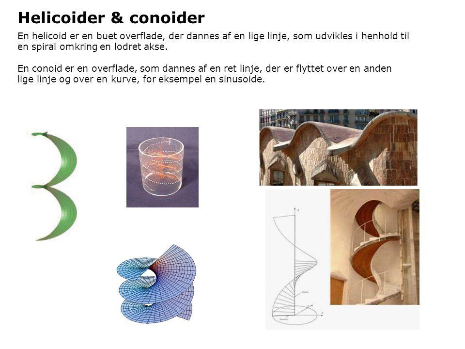 Helicoider & conoider En helicoid er en buet overflade, der dannes af en lige linje, som udvikles i henhold til en spiral omkring en lodret akse.