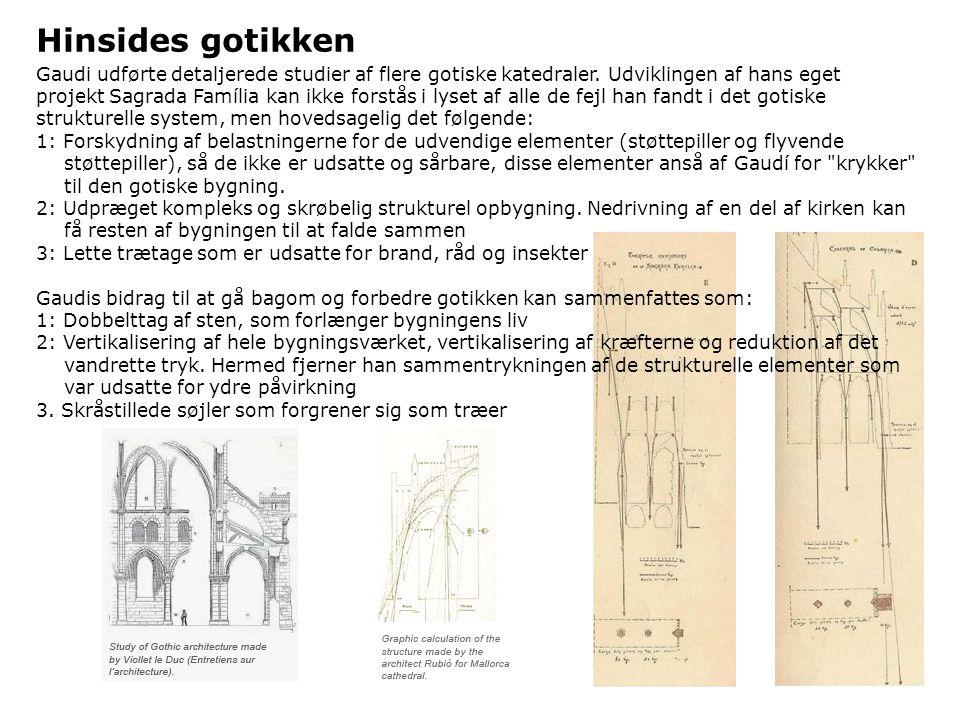 Hinsides gotikken Gaudi udførte detaljerede studier af flere gotiske katedraler. Udviklingen af hans eget.