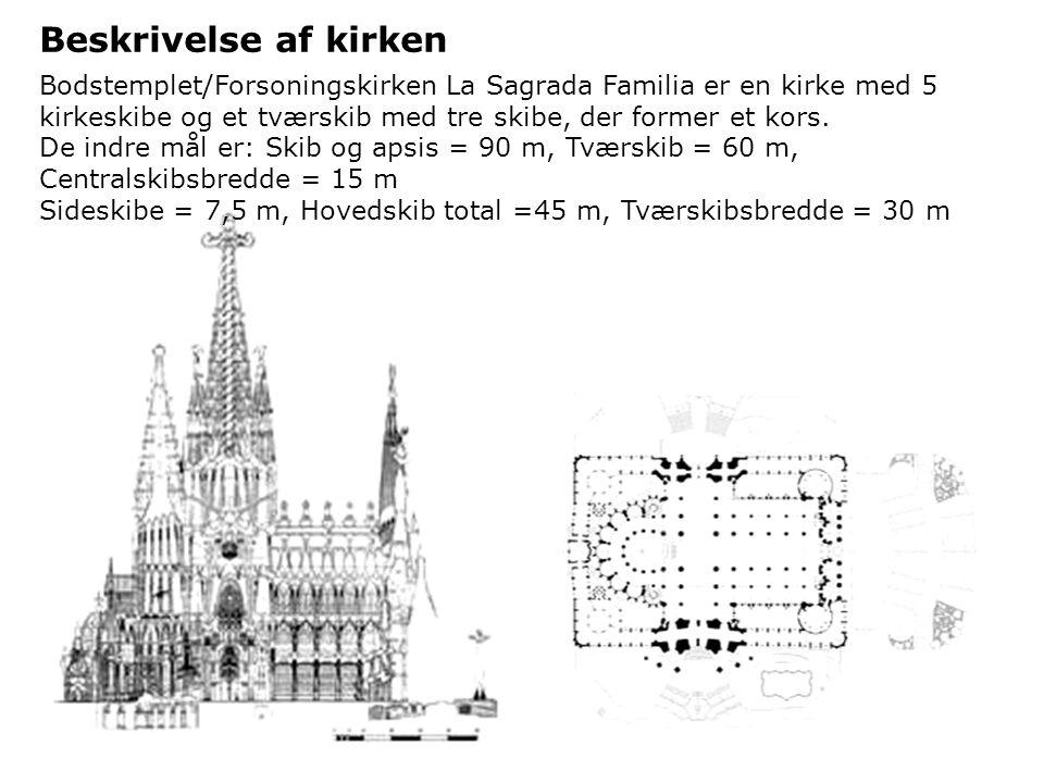 Beskrivelse af kirken Bodstemplet/Forsoningskirken La Sagrada Familia er en kirke med 5 kirkeskibe og et tværskib med tre skibe, der former et kors.