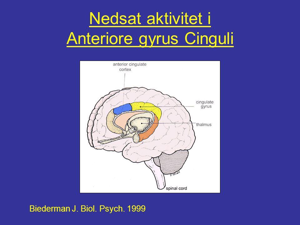 Nedsat aktivitet i Anteriore gyrus Cinguli