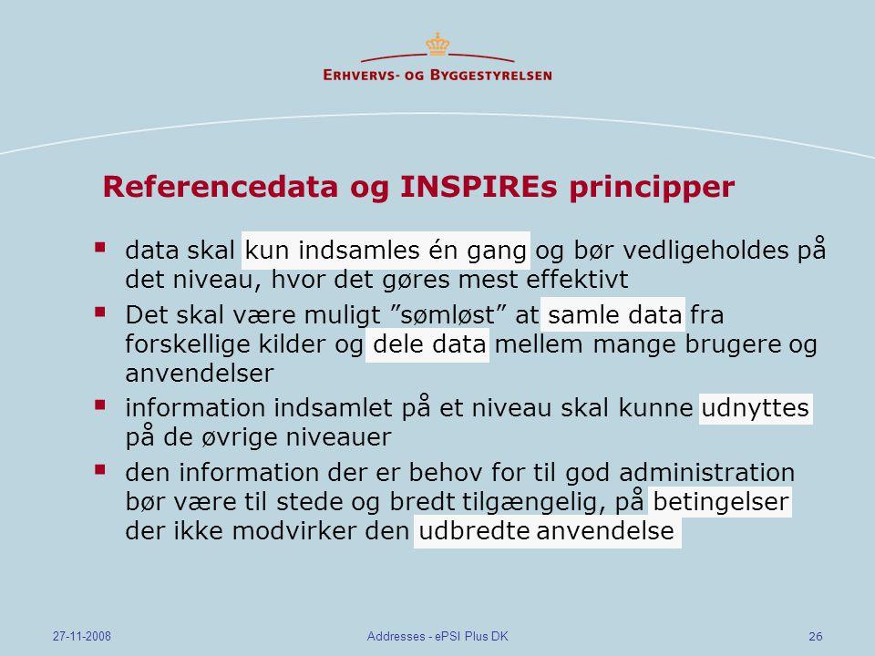 Referencedata og INSPIREs principper