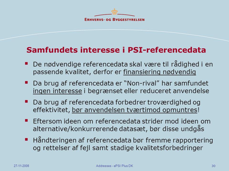 Samfundets interesse i PSI-referencedata