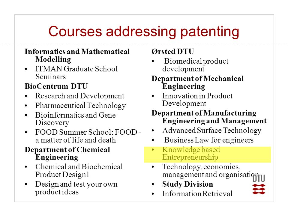 Courses addressing patenting