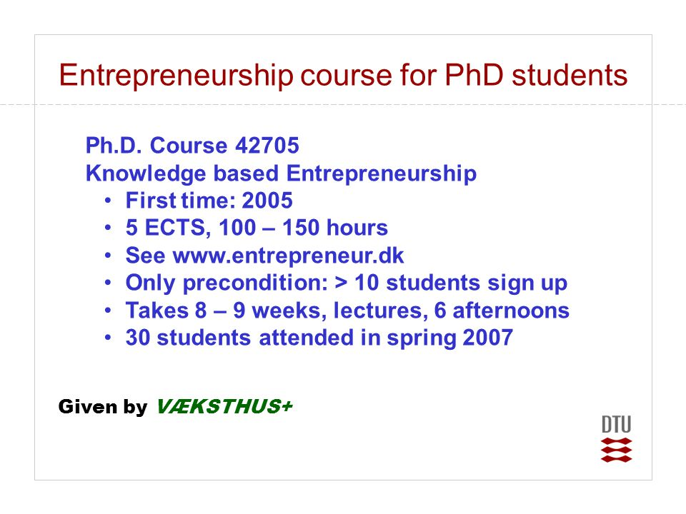 Entrepreneurship course for PhD students