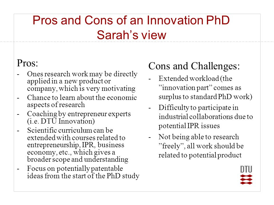 Pros and Cons of an Innovation PhD Sarah's view