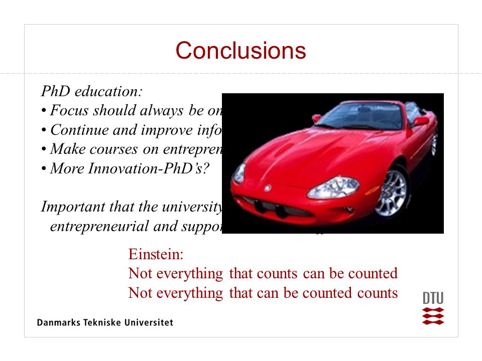 Conclusions PhD education: